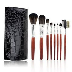 8pcs Portable Crocodile Grain Makeup Brush Set