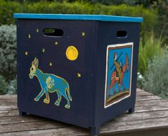Blue donkey toy box. By Varda Artisticolors. Sold on ETSY