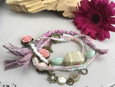 Pretty pastel pinks and blues. by Catherine Cains on Etsy