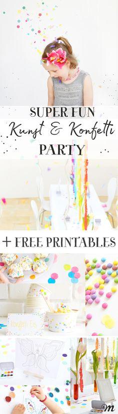 Kunst & Konfetti Party zum Kindergeburtstag YAY - the super happy art and confetti party for the kid Happy Birthday Kids, Birthday Diy, Birthday Parties, Fun Wedding Invitations, Birthday Invitations, Kunst Party, Art Party, Crafts For Girls, Party Printables