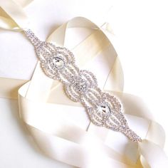 Art Deco Rhinestone Bridal Belt Sash  Custom Ribbon by GetNoticed, $45.00