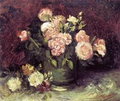 Vincent Van Gogh : Vase with Peonies and Roses,reproductions oil paintings