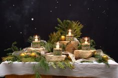 Advent candle display - natural elements