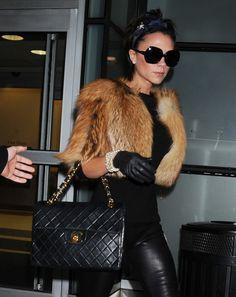 e506e182366d2f Victoria-Beckham with a Vintage Chanel Maxi Flap Bag Victoria Beckham  Outfits, Victoria Beckham