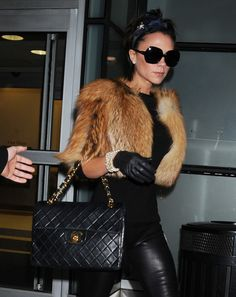 Victoria-Beckham with a Vintage Chanel Maxi Flap Bag