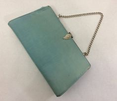 Vintage Turquoise Blue Linen Handbag Clutch With Gold Chain Strap and Gold Faux Diamond Leaf Snap Closure by LakesideVintageShop on Etsy