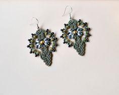 Micro macrame earrings, bohemian earrings, boho chic, rustic style, olive green earrings, beaded earrings, seed bead jewelry