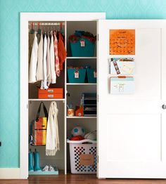 Contain drop-zone clutter for a streamlined appearance -- and easy upkeep -- in your entry closet. These affordable small-closet ideas are the key to swift arrivals and departures.