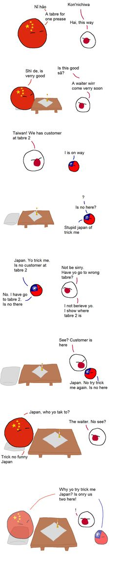"""Table for one prease"" ( China, Taiwan, Japan ) by Zobtzler #polandball #countryball #flagball"