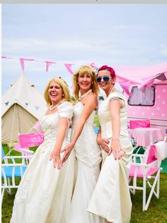 Ready for our ' runaway bride ' obstacle course ! Runaway Bride, Obstacle Course, Pink Parties, Bridesmaid Dresses, Wedding Dresses, Caravan, Flower Girl Dresses, Party, Vintage