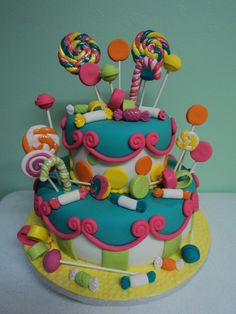Candyland Cake Roxy, like the fondant candies of this one. I'm not a fan of pastels so bright colors would be great. Candy Theme Cake, Candy Cakes, Lollipop Cake, Cupcake Cakes, Number One Cake, Cake Pops, Vanellope Y Ralph, Gateaux Cake, Take The Cake