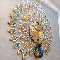 21 inch Non Ticking Large Luxury Diamonds Jelwery Peacock Decorative Clock Crystal Metal Clock Silent Home Wall Clock Decor for Living Room, Bedroom, Office Image 8 of 10 3d Wall Clock, Metal Clock, Wall Clock Design, Clock Decor, Wall Clock Luxury, Big Wall Clocks, Peacock Room Decor, Peacock Wall Art, Peacock Living Room