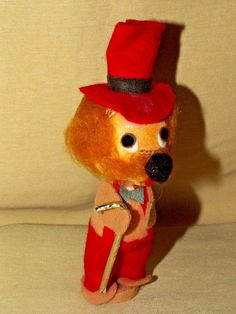 Stick Pet Magnetic Dog Wolf Vintage Japan Red Hat Overalls Record Music Box Doll