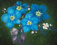 Forget Me Not, 2014, Acrylic on Canvas, 10 x 8 inches #acrylicpainting #art #flowers #forgetmenot #painting #stilllife #traditionalart
