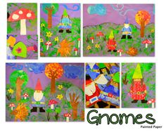 Garden gnomes and stylized trees all so adorable!  There's a great poem about gnomes too.