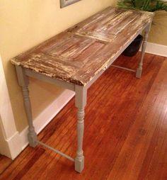 Repurposed door/sofa table, for basement bar height table behind sofa?
