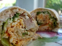 chicken and roasted red pepper hummus wrap
