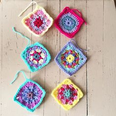 """Six more have joined the ranks! #crochetmandala #grannysquare #bohocrochet #bohomandalablanketofmanycolors"" Photo taken by @kellykellykellygreen on Instagram, pinned via the InstaPin iOS App! http://www.instapinapp.com (08/07/2015)"