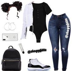 White with black paint vest, black bodysuit, dark Jean's, black and white jordans Baddie Outfits Casual, Boujee Outfits, Cute Swag Outfits, Cute Comfy Outfits, Teen Fashion Outfits, Dope Outfits, Girly Outfits, Stylish Outfits, Polyvore Outfits