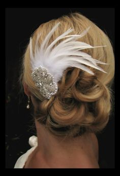 Haley - Stunning Feather  Fascinator with Rhinestone Accent Piece, bridal hair accessories, feather hair accessories. $40.00, via Etsy.