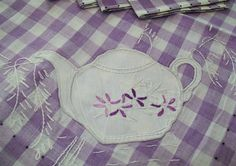 Embroidery and applique for tea towel or table cloth Lavender Cottage, Lavender Tea, Lilac, Purple, 2nd Birthday Parties, Spring Colors, Cottage Style, Tea Towels, Gingham