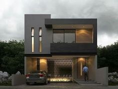 Modern house plans offer a great alternative to the more traditional styles.Unlike age-old properties, new apartments and homes are built to optimize the comfort of modern housing. Bungalow House Design, House Front Design, Small House Design, Modern House Design, Modern House Facades, Modern Architecture House, Modern House Plans, Residential Architecture, Facade Design