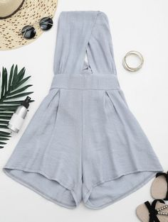 SHARE & Get it FREE | Cut Out Backless Romper - GrayFor Fashion Lovers only:80,000+ Items • New Arrivals Daily Join Zaful: Get YOUR $50 NOW!