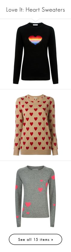 """Love It: Heart Sweaters"" by polyvore-editorial ❤ liked on Polyvore featuring heartsweaters, tops, sweaters, crew neck top, rainbow sweater, crew sweater, slimming tops, heart tops, camel and merino wool sweater"