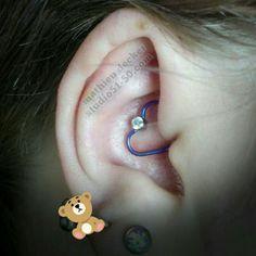 Daith piercing with a purple niobium heart and bezel set faceted swarovski gemstone. Daith Piercing, Piercings, Swarovski, Studio, Gemstones, Purple, Heart, Jewelry, Peircings