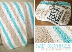 Sweet Ocean Breeze Baby Blanket | Free Crochet Pattern by Little Monkeys Crochet | A beautiful SC+DC stitch combo, together with a sheen and baby-soft yarn from Bernat, creates a gorgeous baby blanket for your next baby shower gift. That new mama will love snuggling her precious newborn in this soft, special crochet blanket. Free pattern!
