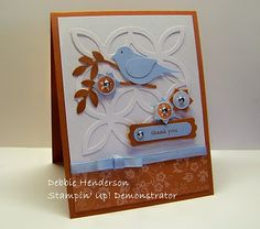 THANK YOU Card - Lattice Die Cut; Bird Punch; Embellishments; Ribbon