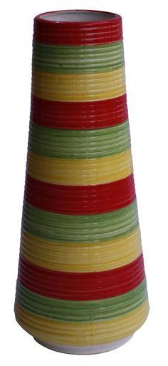 "Bulk Wholesale 14"" Handmade Ceramic Ribbed Vase – Glazed & Hand-Painted Red Green Yellow - Art Deco Vase - Home Decor"