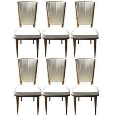 set 6 french art deco dining chairs solid walnut art deco dining 6