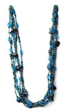 Teal Blue Multi Strand Opera Length Necklace by ALFAdesigns  #seypush #google #bing #yahoo