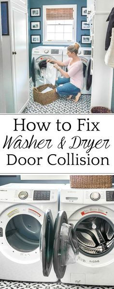 How to cross washer and dryer connections to prevent door collision + why we love our Samsung set to make us more efficient in tackling our laundry pile. #laundryroom #howto
