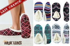 $4.99 Muk Luks slippers! Who doesn't love a soft, stylish slipper? Lounge in MUK LUKS ballerina slippers with style and comfort! The ballerina slipper comes in various patterns that compliments it's simple and modern appearance. It's all-day-comfort makes your indoor relaxation extra cozy. The perfect Christmas gift or stocking stuffer idea!
