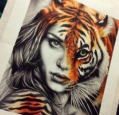 Half Lion half woman tattoo