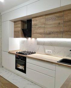 Kitchen Room Design, Kitchen Cabinet Design, Modern Kitchen Design, Home Decor Kitchen, Interior Design Kitchen, Home Kitchens, Small Apartment Interior, Modern Kitchen Interiors, Cuisines Design