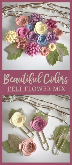 Love these felt flowers! Beautiful colours! Felts flowers consist of large roses, medium roses, loopy blooms, mum flowers and small scallop flowers. #ad #diy #craft #flowers #felt #decoration #nursery