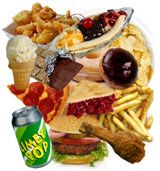 "CDC page on ""what causes childhood obesity"" - full of vetted factoids about the various factors. Here is their image of ""junk food""."