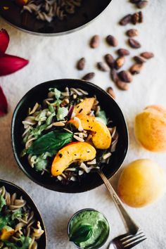 peaches and greens pasta salad with bliss inducing basil tahini sauce | vegan and gluten-free recipe.