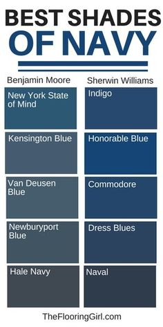 Ways to Decorate with Navy for a Modern Look Best shades of navy paint and how to decorate with navy. Best shades of navy paint and how to decorate with navy. Navy Paint Colors, Bedroom Paint Colors, Paint Colors For Home, Navy Blue Color, Nautical Paint Colors, Peacock Blue Paint, Blue Wall Colors, Blue Chalk Paint, Door Paint Colors