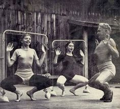 """Jacobs Pillow ~ LIFE MAGAZINE story, 1947. Joseph Pilates, originator of the noted """"Pilates"""" exercise regime, teaching exercise class to dancers at the """"Pillow""""."""