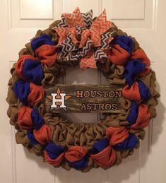Houston Astros wreath, Houston Astros burlap wreath, Houston Astros sign, Astros front door wreath, Houston Astros deco, Astros wreath