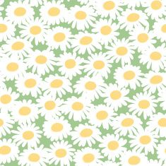 Seamless floral pattern with chamomiles vector art illustration