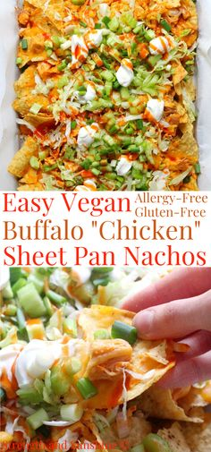 "These EASY Vegan Buffalo ""Chicken"" Sheet Pan Nachos are out of this world! A healthy, gluten-free, and allergy-free recipe for nachos, quickly baked in the oven, that works great as an appetizer, the Super Bowl, party food, or a fun dinner idea! Plant-based chicken made from jackfruit, loaded with buffalo sauce, veggies, dairy-free sour cream, and crunchy corn chips! #nachos #vegannachos #sheetpanrecipes #jackfruit #superbowl"