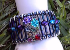 Beaded Safety Pin Bracelet  Shades of Purples by BernyCreations