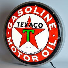 "Texaco Motor Oil Backlit LED Lighted Sign is very bright! They feature hour rated LED lights that can either be switched all on, or switched to a ""running"" feature, where the lights will move. Purchase your Lighted LED Sign from the Vintage Sign Shack Neon Light Signs, Led Neon Signs, Backlit Signs, Neon Clock, Led Wall Lamp, Texaco, Gas Pumps, Pontiac Firebird, Vacuum Forming"