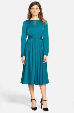 Classiques Entier® Keyhole Neck Ruched Waist Dress (Regular & Petite) available at #Nordstrom-Black or Teal Ocean -$172.80