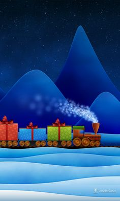 Christmas Train · Desktop wallpapers · Vladstudio